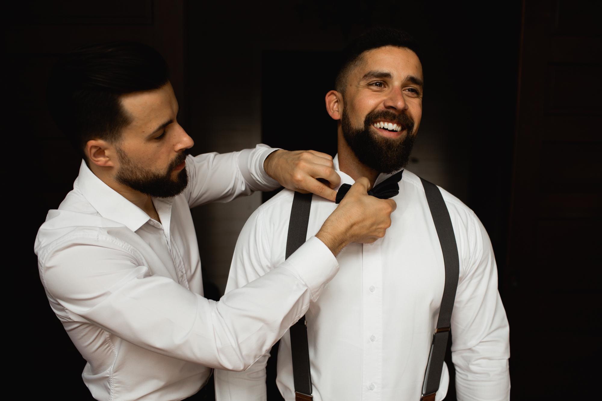 groom getting dressed