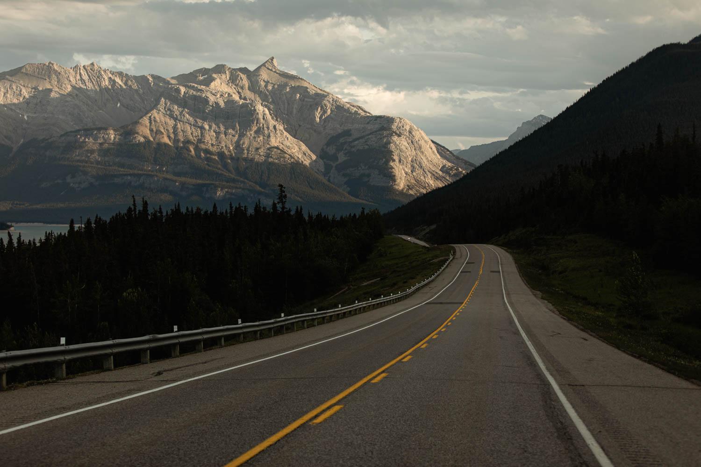 drive to Lake Abraham