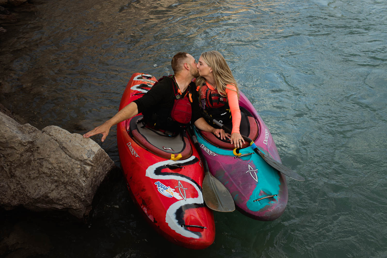 Abraham Lake Engagement Photography Kayak Adventure Session