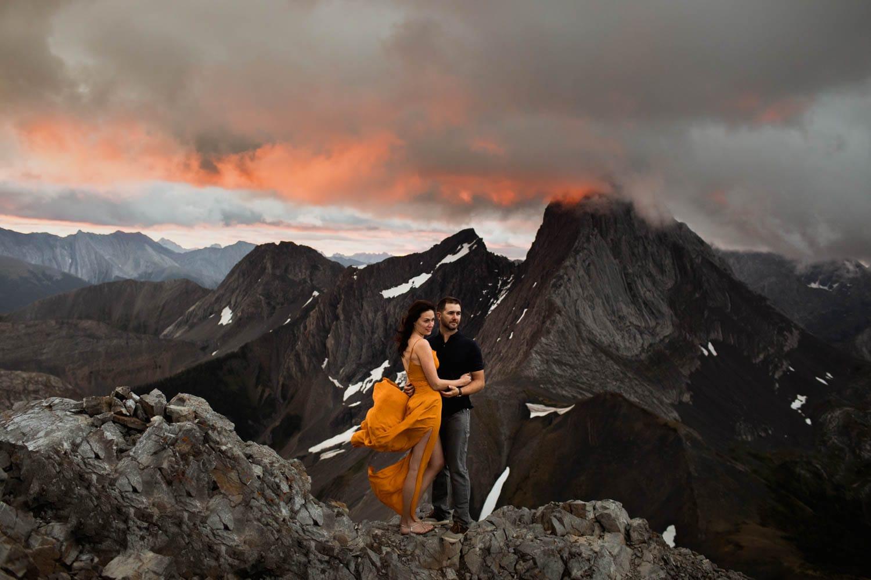 Kananaskis Mountain Top Sunrise Engagement