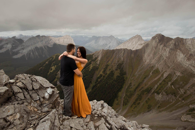 engaged couple near banff