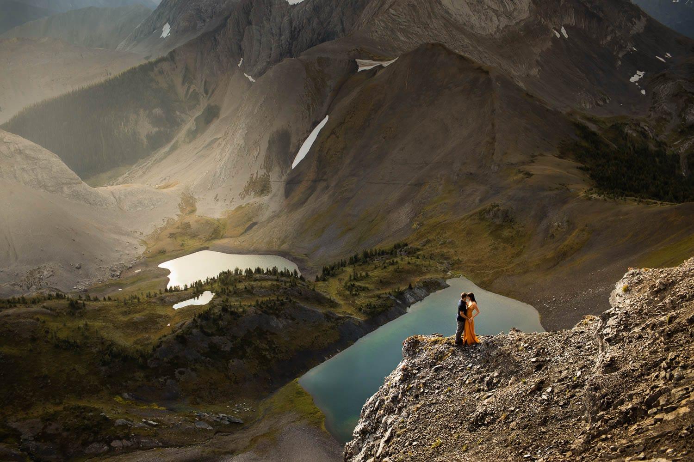 Banff Engagement Photo above lake