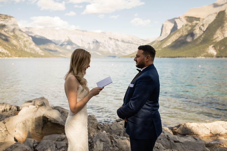 Lake Minnewanka wedding ceremony