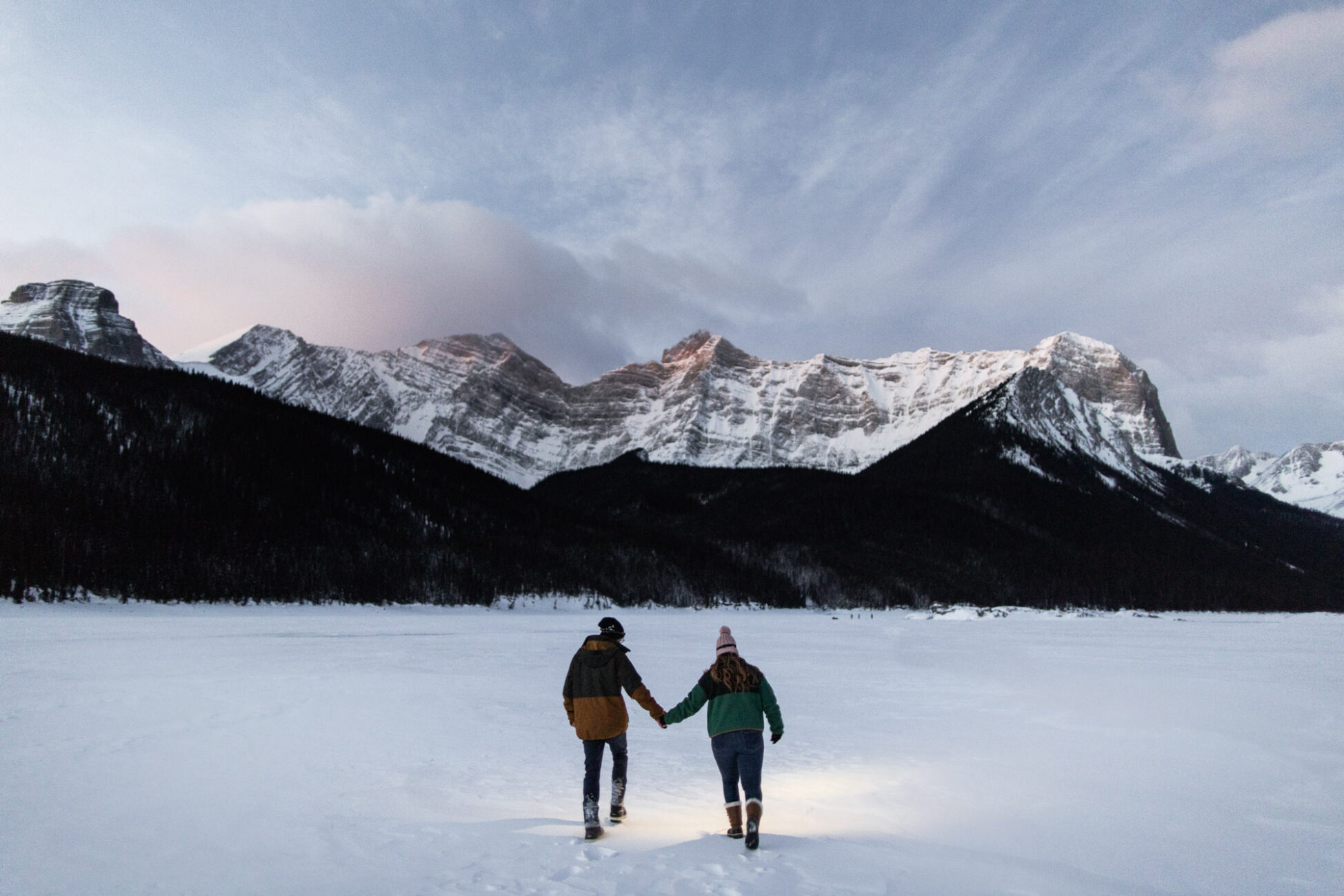 Sunrise Winter Engagement in Kananaskis