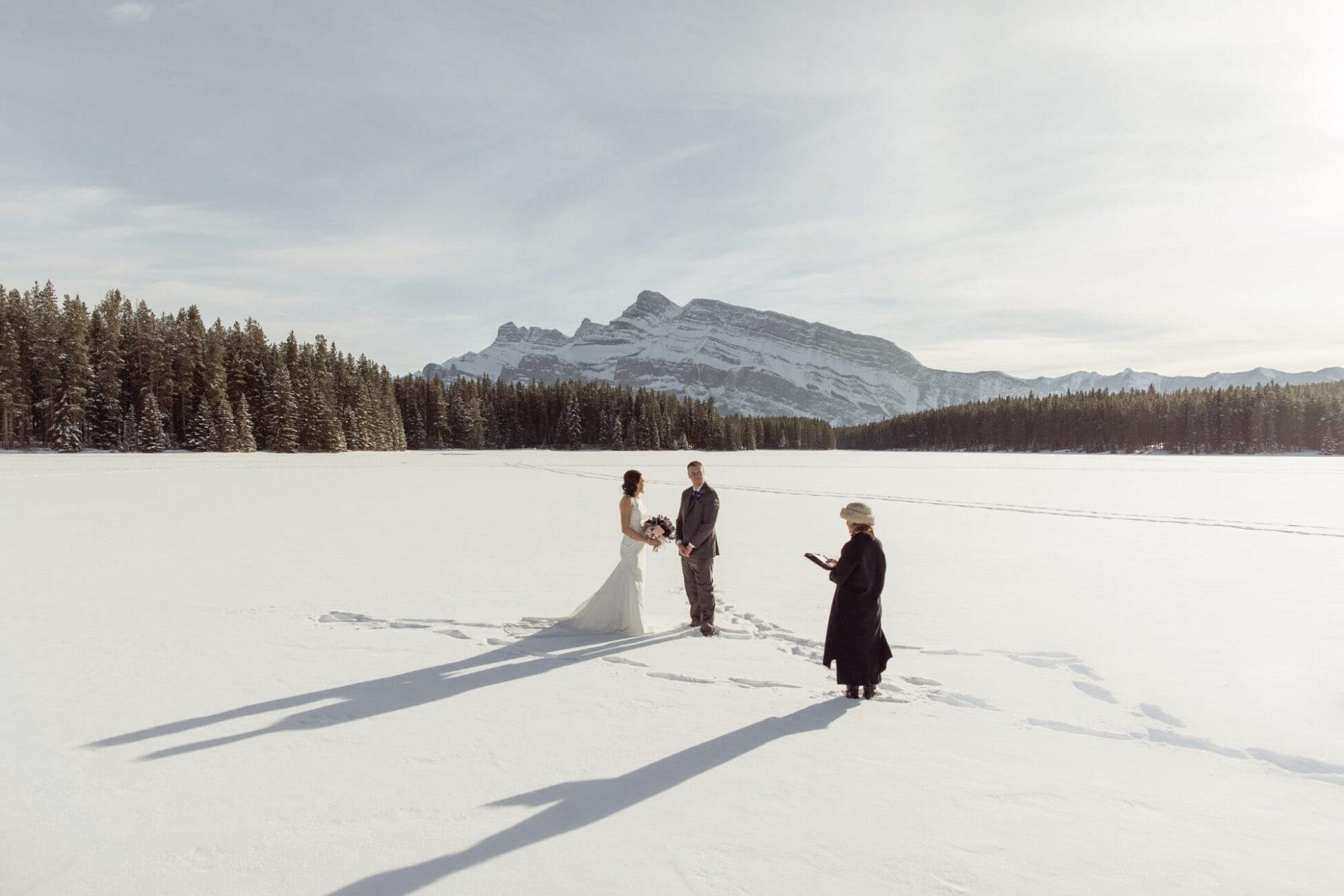 winter elopement in banff national park