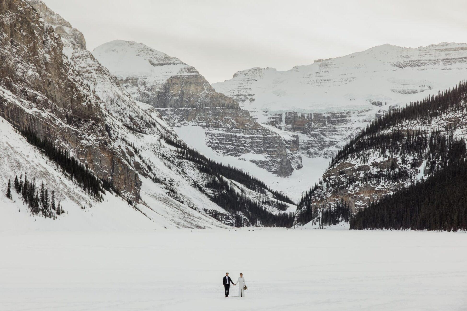 intimate winter wedding at lake louise