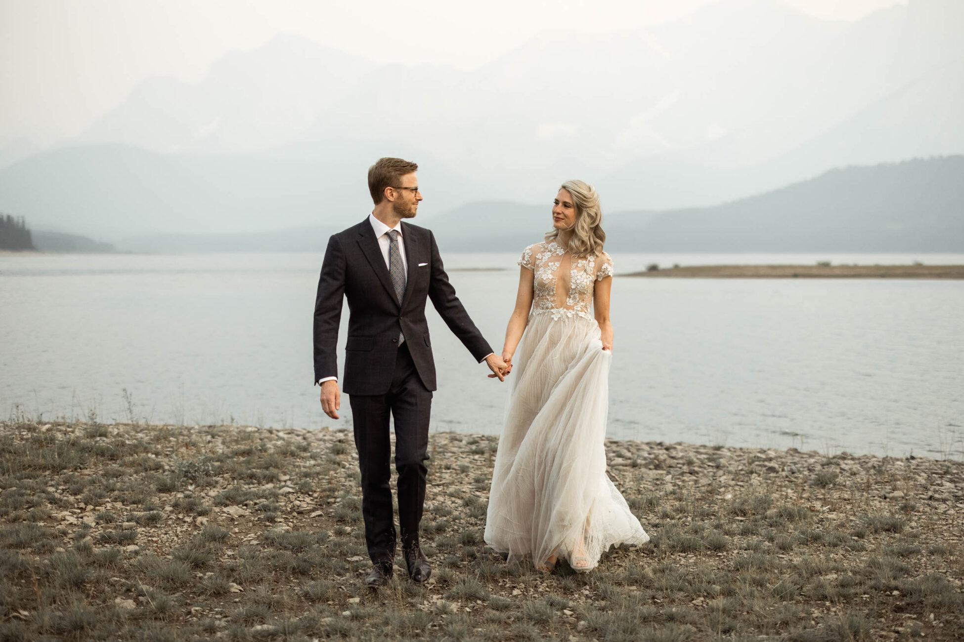 lakeside cabin wedding in kananaskis alberta
